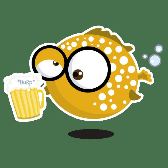 Kugelfisch mit Bier - Taucher T-Shirt