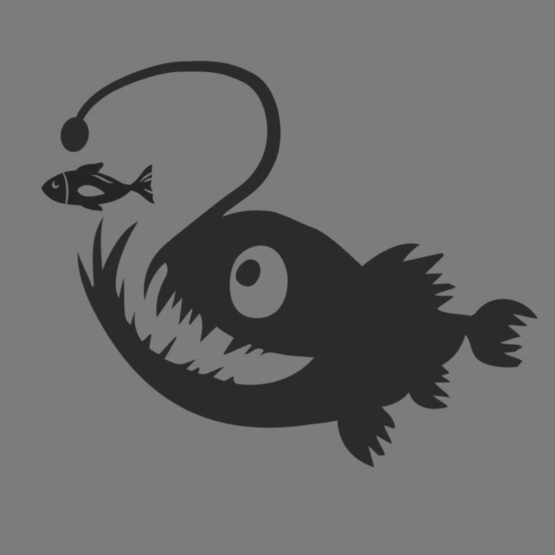 angler fish black dive design
