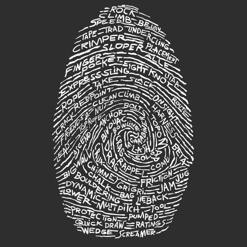 Kletterer Fingerabdruck als T-Shirt Aufdruck