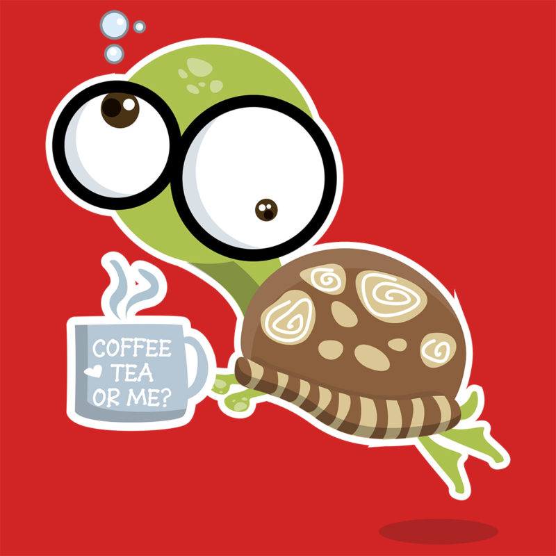 T-Shirt Flippy Turtle - Coffee Tea or Me? - Taucher T-Shirt
