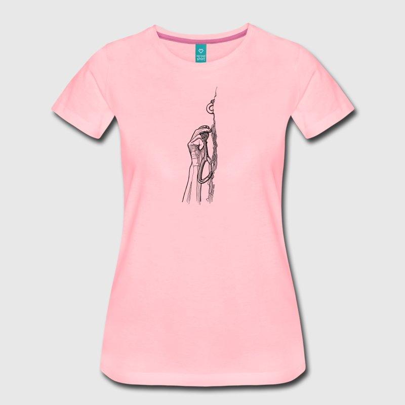Almost There Frauen T-Shirt mit Kletterer Hand, Karabiner und Bohrhaken - Kletter T-Shirt