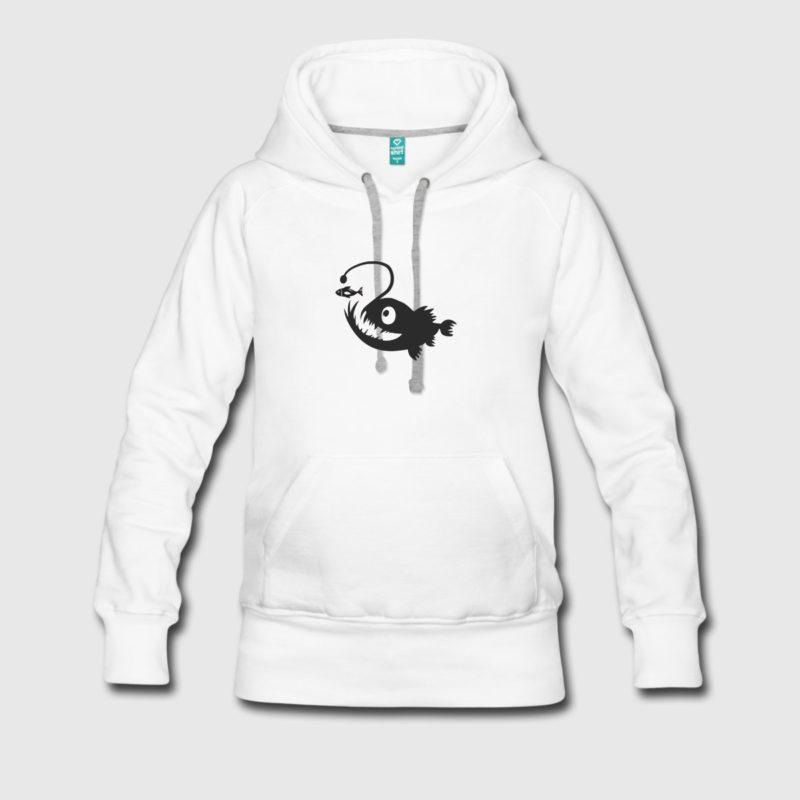 angler fish black dive design men and women hoodies