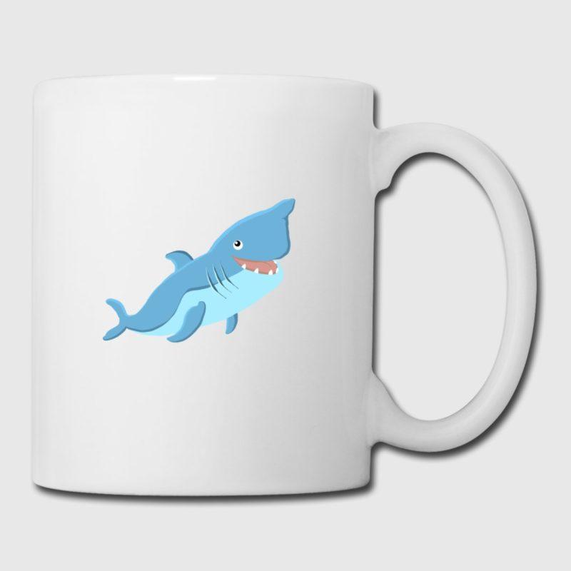 blue shark dive design coffee tea mug