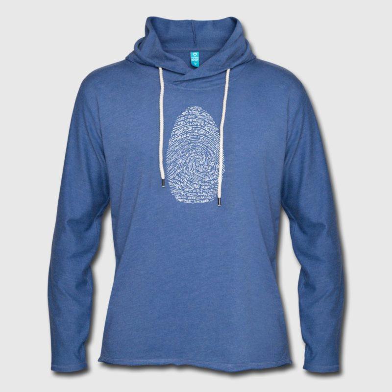 Kletterer Fingerabdruck Kapuzensweatshirt Hoodie mit Aufdruck