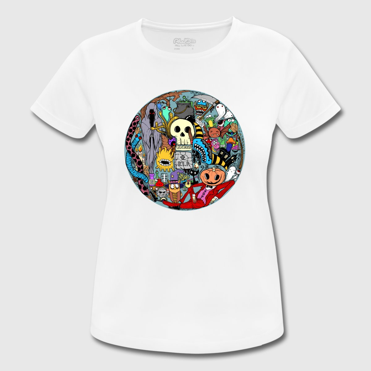 Halloween horror colored collage design men and women for Travel t shirt design ideas