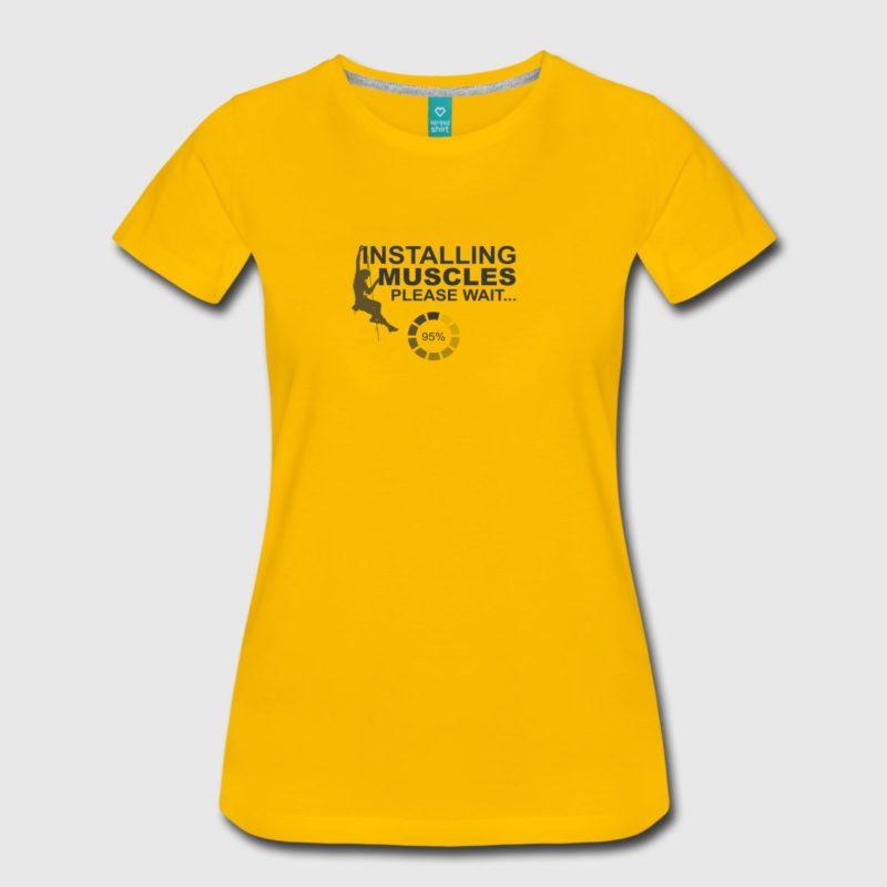 installing muscles rock climbing design black men and women t-shirt