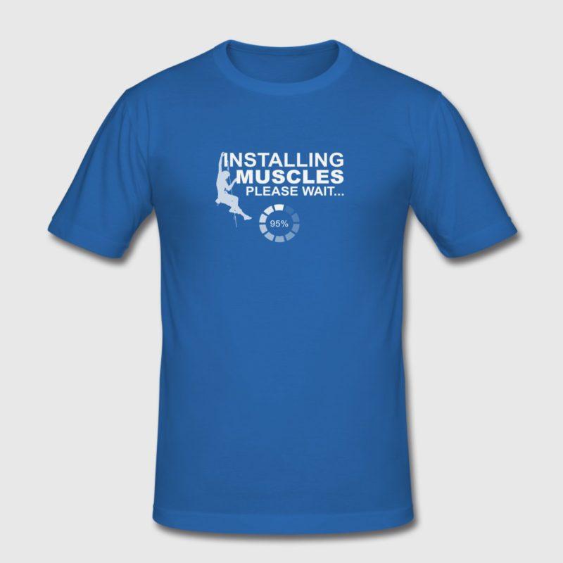 installing muscles rock climbing design white men and women t-shirt
