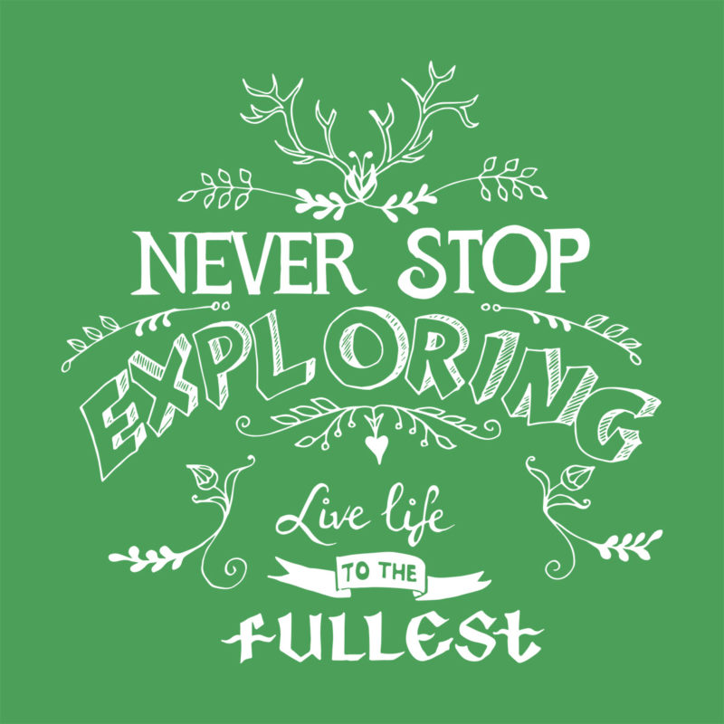 "T-Shirt Aufdruck ""never stop exploring"""