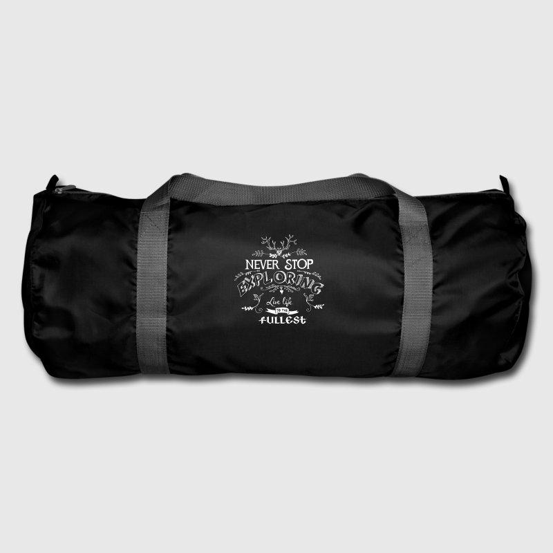 never stop exploring white climbing design sports duffel bag