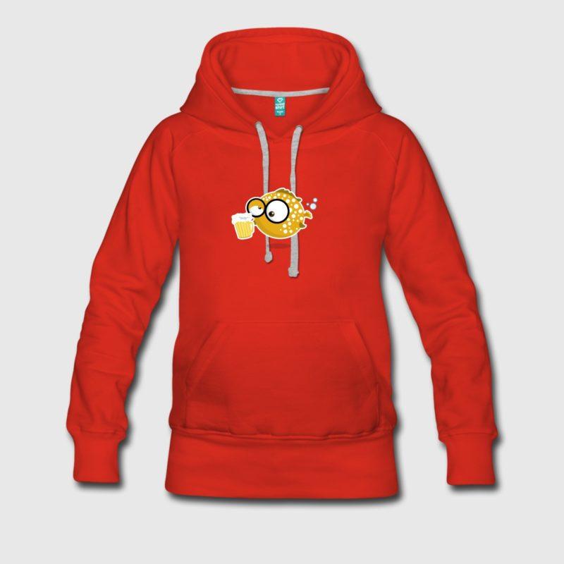 Kugelfisch mit Bier Kapuzenpulli Hoodie - Taucher T-Shirt