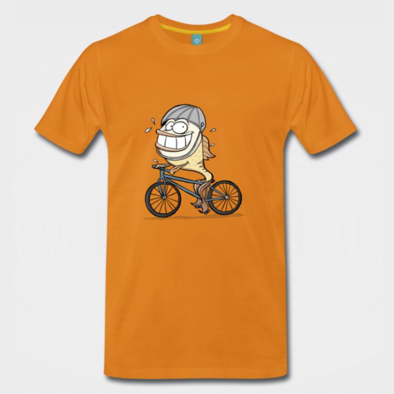 Fahrrad fahrender Fisch - T-Shirt Design für Angler, Biker und Sportfischer