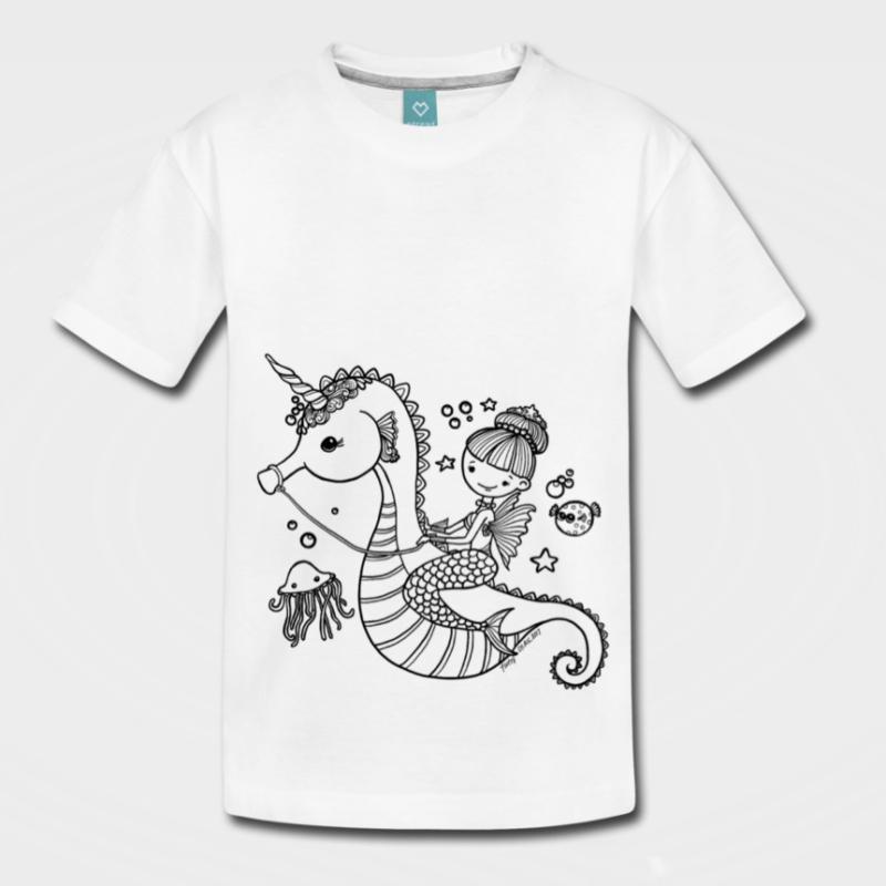 Auf Seepferdchen reitende Meerjungfrau - niedliches T-Shirt Design für Mädchen und Kinder